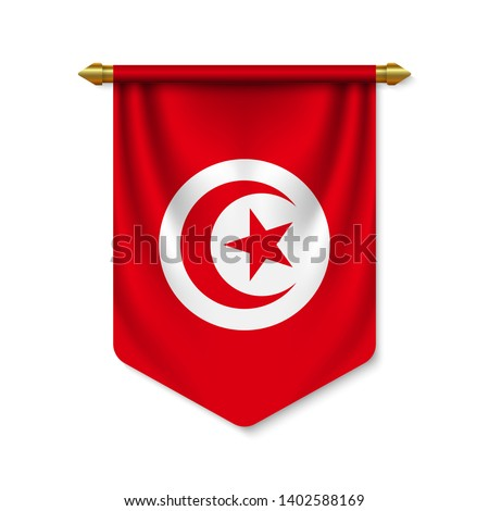 3d realistic pennant with flag of Tunisia. Vector illustration