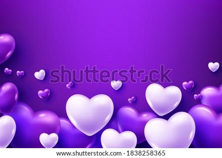 3D Realistic purple Heart Balloons Flying
