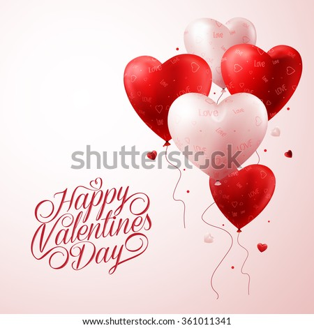 3d realistic red heart balloons