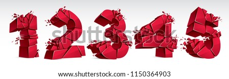 3D realistic red numbers set 1 2 3 4 5 vector illustration, breaking to pieces digits over white symbols collection.