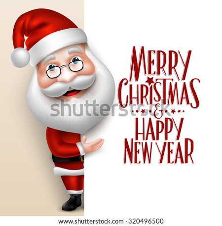Shutterstock 3D Realistic Santa Claus Cartoon Character Showing  Merry Christmas Tittle Written  in Blank Space. Vector Illustration