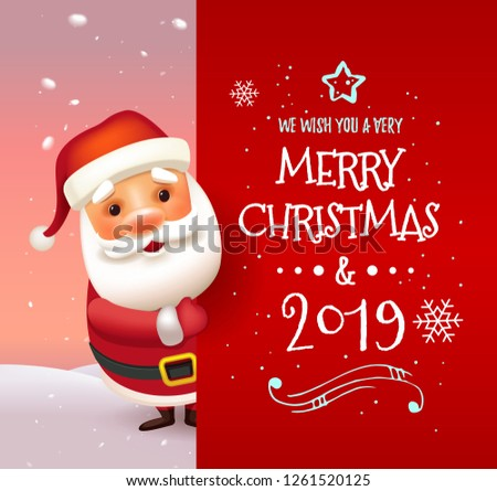 72d5310b4ddd3 3D Realistic Santa Claus Cartoon Character Showing Merry Christmas Tittle  Written in Red Letter Paper Space