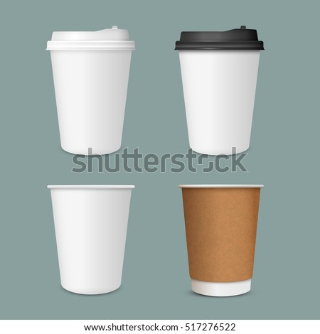 Shutterstock 3D Realistic set of  paper Coffee Cups. Paper Coffee Cup Mockup. Vector Template