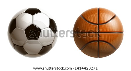 3d realistic shiny basketball and football soccer championship Design banner. Illustration banner with logo Realistic basketball and football soccer balls Isolated on white background. classic balls