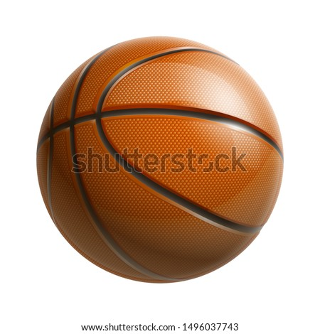3d realistic shiny basketball championship Design banner. Illustration banner with logo Realistic single orange basketball ball Isolated on white background. Beautiful design orange classic ball