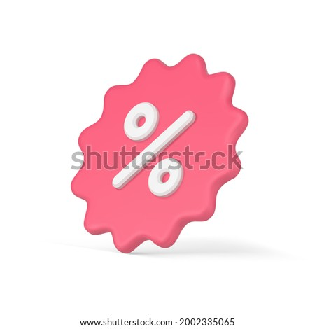 3d realistic sticker with percent. Starburst price tag clearance sale with pink discounts. Profitable advertising for promotion sales. Marketing special bonuses. Vector icon isolated template Stock foto ©