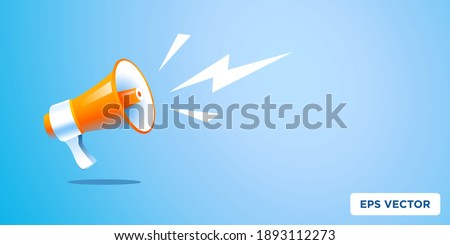 3d realistic style megaphone vector Illustration on blue banner background, concept of join us, job vacancy and announcement in modern flat cartoon style design