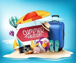 3D Realistic Summer Vacation Poster Design for Travel in a Sand Beach Island in Horizon. Vector Illustration
