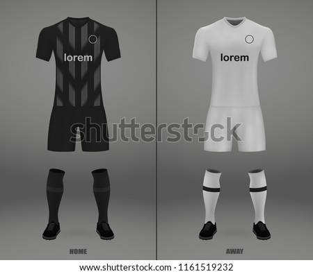 3D realistic template soccer jersey Eintracht Frankfurt. t-shirt with pants and socks on shop backdrop. Mockup of football team uniform