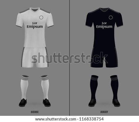 3D realistic template soccer jersey Real Madrid. t-shirt with pants and  socks on 8ff883c4264ca