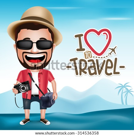 3D Realistic Tourist Man Character Wearing Photographer Outfit with Mountain Background.  Vector Illustration