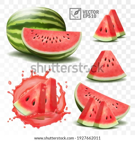 3d realistic transparent isolated vector set, whole and slice of watermelon, watermelon in a splash of juice with drops