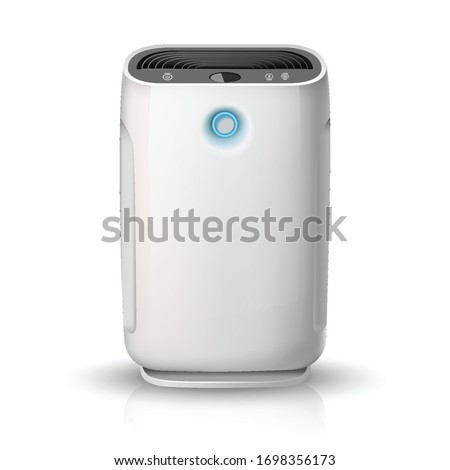 3d realistic vector air purifier, isolated on white background illustration icon. Air cleaning and humidifying  devise for the house. Stock photo ©