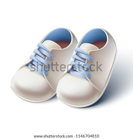 3d realistic vector baby boy shoes.