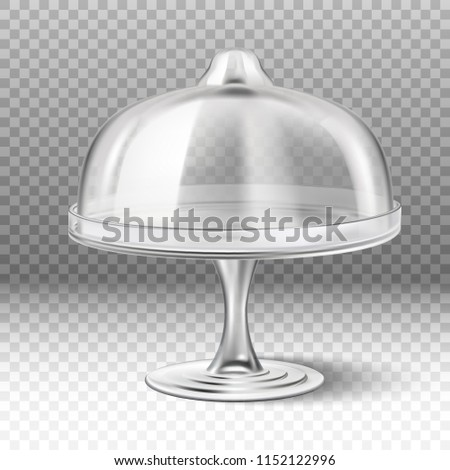 3d realistic vector cake stand in  transparent glass isolated on transparent background. Foto stock ©