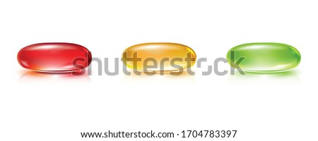3d realistic vector collection of colorful pill capsules. Isolated icon illustration on white background. Photo stock ©