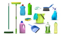 3d realistic vector collection of household cleaning products. Isolated on white background.