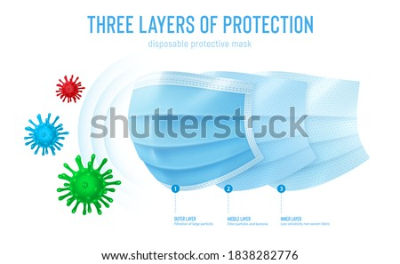 3d realistic vector disposable protective mask. Blue surgical, medical respiratory face mask isolated on white. Coronavirus protection, anti-dust, anti-bacteria. Three layers of protection