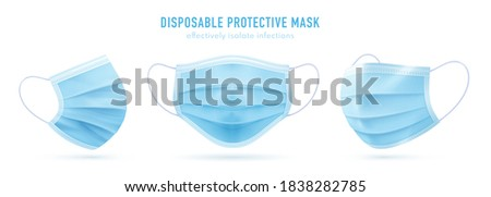 3d realistic vector disposable protective mask. Blue surgical, medical respiratory face mask isolated on white. Coronavirus protection, anti-dust, anti-bacteria, anti-exhaust gas.