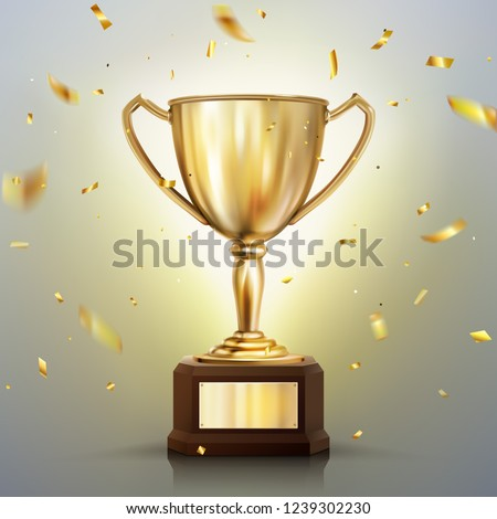 3d realistic vector golden cup isolated on white background. Championship trophy surrounded by falling confetti. Sports tournament award