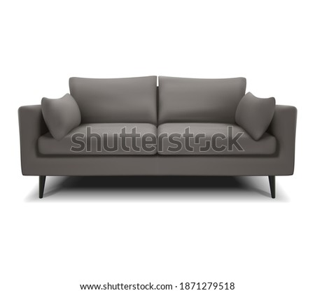 3d realistic vector gray sofa, couch on a white background. Isolated. Foto stock ©