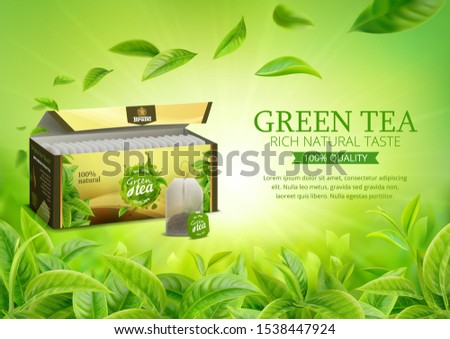 3d realistic vector horizontal banner, nature, tea plantation, green tea garden background with tea packaging and flying leaves, tea bag