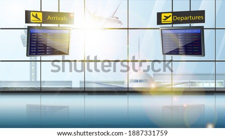 3d realistic vector illustration of airport with planes in the window and flights schedule screens of departure and landing. Сток-фото ©