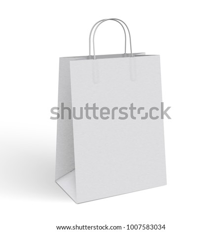 Shutterstock 3d realistic vector illustration of white paper shopping bag. Blank Paper Bag Template Vector. Blank paper package with texture