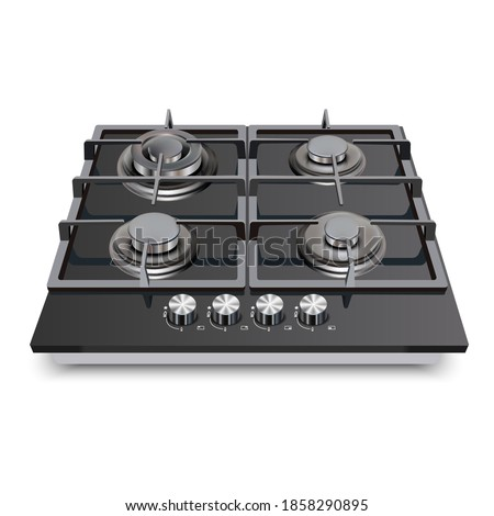 3d realistic vector kitchen appliance, gas cooking surface, cooktop. Сток-фото ©