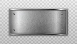 3d realistic vector metal plate. Isolated on transparent background.
