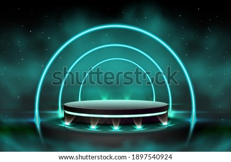 3d realistic vector neon luminous black stage with spot lights around and clouds effect. Presentation sparkly neon background. Imagine de stoc ©