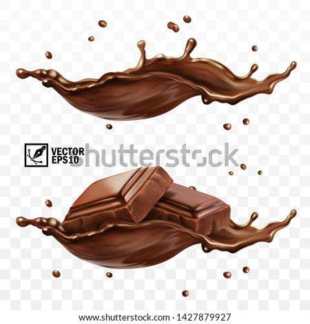 3D realistic vector set, horizontal splash of chocolate, cocoa or coffee, pieces of chocolate bar