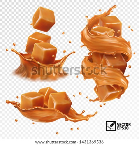 3D realistic vector set of a splash of caramel, slices and pieces of caramel, a splash in the form of a crown and a swirl