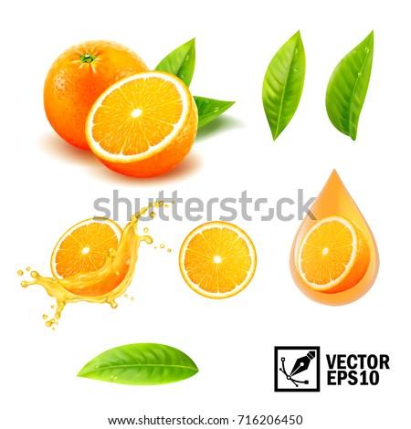 3d realistic vector set of elements ( whole orange, sliced orange, splash orange juice, drop orange oil, leaves). Editable handmade mesh