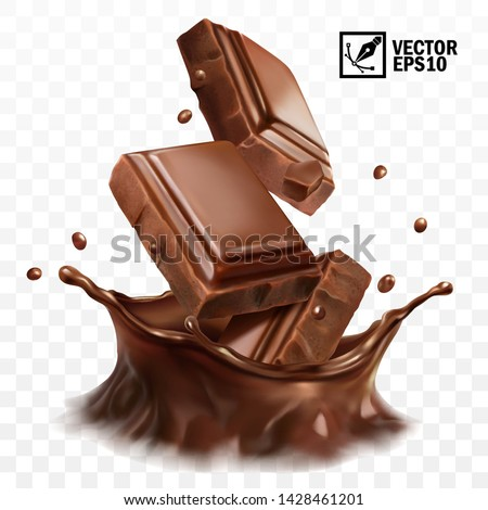3D realistic vector splash of chocolate, cocoa or coffee, pieces of chocolate bar, crown