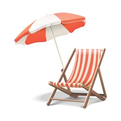 3d realistic vector vacation icon beach sunbed with umbrella, wooden deck chair. Summertime relax. Isolated on white background illustration.