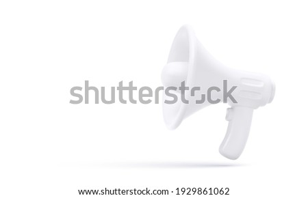 3d realistic white plastic megaphone with shadow isolated on white background. Vector illustration