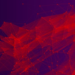 3D Red and Purple Abstract Mesh Background with Circles, Lines and Shapes   EPS10 Design Layout