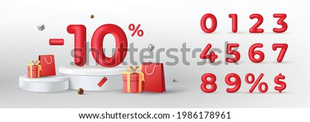 3D Red Discount numbers on podium with shopping bag and gift box vector. Price off tag design collection. 0, 1, 2, 3, 4, 5, 6, 7, 8, 9, percent and dollar illustration.