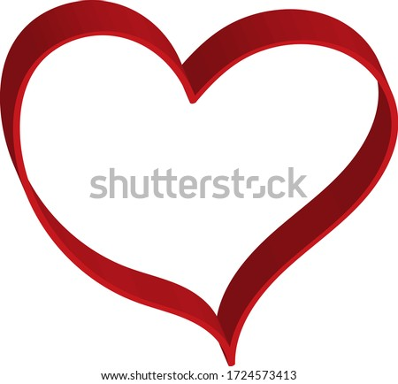 3 d red heart - outline drawing for an emblem or logo. Template for greeting card for Valentine's Day.