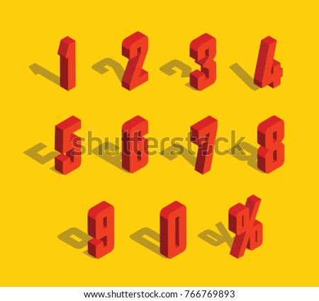 3D Red Metallic Isometric Letter. 0, 1, 2, 3, 4, 5, 6, 7, 8, 9 numeral alphabet. Vector Isolated Number.