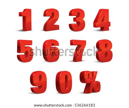 3D Red Metallic Letter. 0, 1, 2, 3, 4, 5, 6, 7, 8, 9 numeral alphabet. Vector Isolated Number.