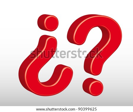 3d red question sign over gray background. vector illustration
