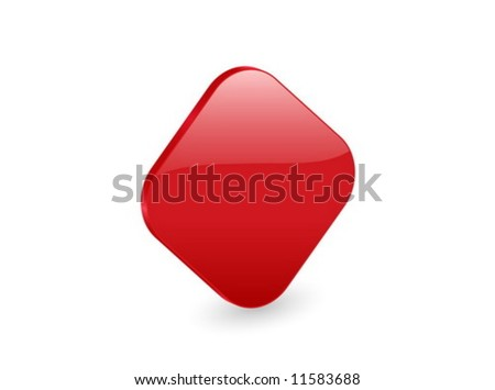 3D red rhomb isolated on white background. Vector illustration