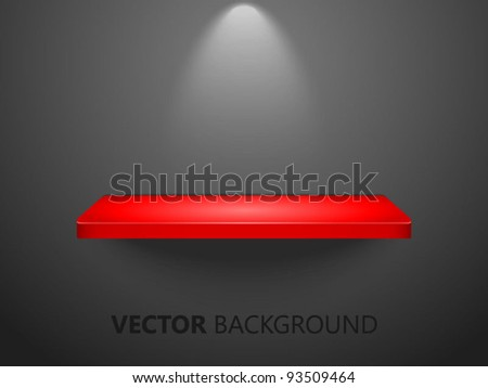 3D red shelf on black wall, useable for exhibits -vector