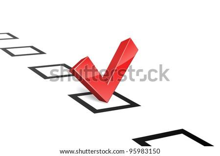 3D red vote tick concept vector illustration. Choice concept.