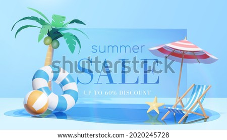 3d refreshing summer sale template. Composition of blue glass board with cute beach object and swimming pool. Concept of island vacation.