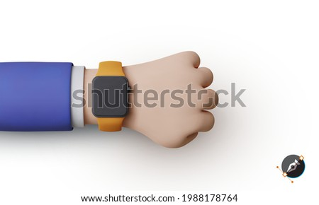 3d render clock on the hand of a businessman in a suit. Smart watch. Hand with clock isolated on background. Vector illustration.