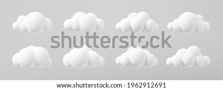 3d render of a clouds set isolated on a grey background. Soft round cartoon fluffy clouds mock up icon. 3d geometric shapes vector illustration