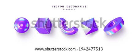 3d render primitive shape set . Realistic 3d sphere, torus, cube, tube. Glossy holographic geometric shapes isolated on white background. Iridescent trendy design, thin film effect. Vector.